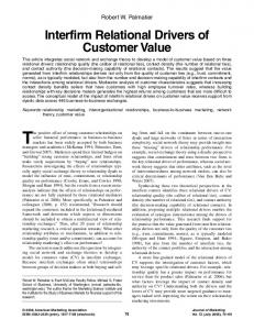 Interfirm Relational Drivers of Customer Value