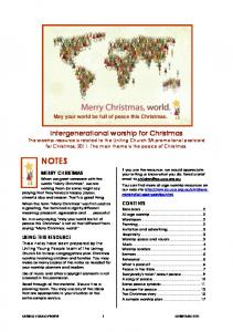 Intergenerational worship for Christmas
