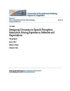 Intergroup Dynamics in Speech Perception - ScholarlyCommons