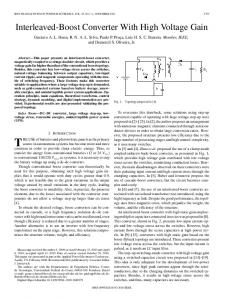 Interleaved-Boost Converter With High Voltage Gain - IEEE Xplore