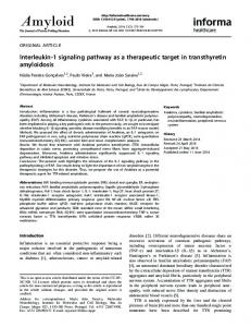 Interleukin-1 signaling pathway as a therapeutic target in transthyretin ...