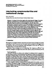 Interlocking complementarities and institutional change