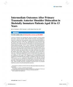 Intermediate Outcomes After Primary Traumatic Anterior Shoulder ...