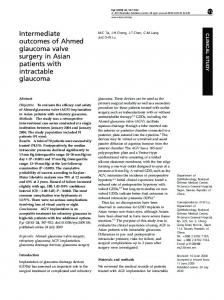 Intermediate outcomes of Ahmed glaucoma valve surgery in ... - Nature