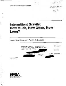 Intermittent Gravity - NASA Technical Reports Server (NTRS)