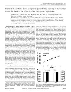 Intermittent hypobaric hypoxia improves postischemic recovery of ...
