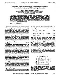 Intermittent Loss of Synchronization in Coupled Chaotic Oscillators