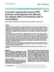 Intermittent parathyroid hormone (PTH) promotes ... - BMC Cell Biology
