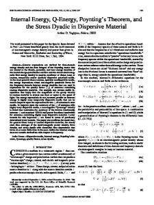 Internal Energy, Q-Energy, Poynting's Theorem, and the ... - IEEE Xplore