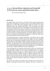 Internal labour migration and household poverty in post-apartheid