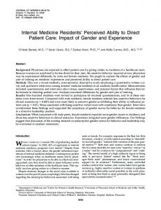 Internal Medicine Residents' Perceived Ability to Direct Patient Care ...