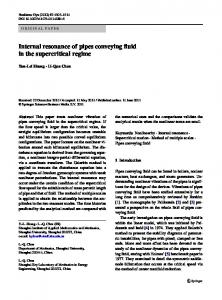 Internal resonance of pipes conveying fluid in the ... - Springer Link