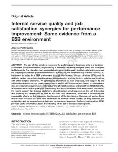 Internal Service Quality and Job Satisfaction Synergies for ...