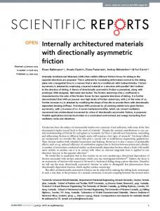 Internally architectured materials with directionally asymmetric friction