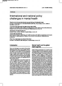 International and national policy challenges in mental health