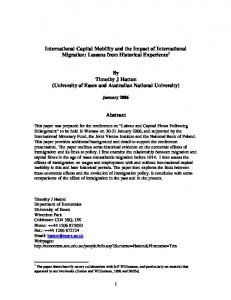 International Capital Mobility and the Impact of International Migration ...