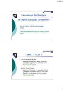 International Certifications of English Language Competence ToEFL ...