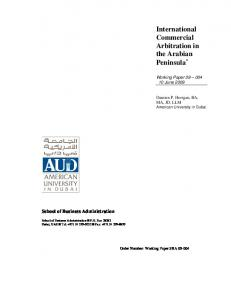 International Commercial Arbitration in the Arabian ...