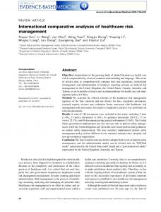 International comparative analyses of healthcare risk management