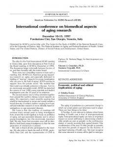 International conference on biomedical aspects of aging research