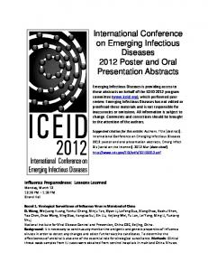International Conference on Emerging Infectious Diseases ... - CDC