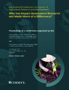 International Conference on Impact of Agricultural ... - CGIAR Impact
