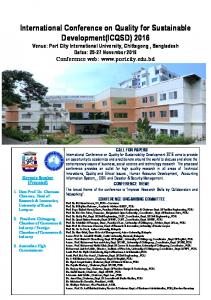 International Conference on Quality for Sustainable ...