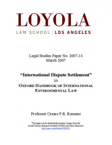 International Dispute Settlement - SSRN papers