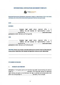 international distribution agreement template - international sales representative agreement template