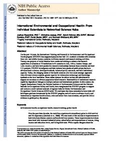 International Environmental and Occupational Health: From Individual ...