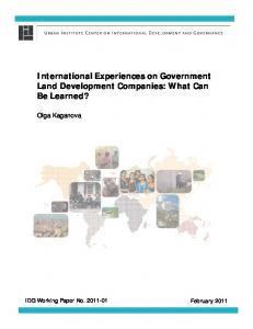 International Experiences on Government Land ... - Urban Institute