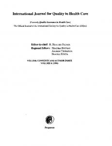 International Journal for Quality in Health Care - Oxford Journals