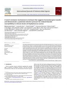 International Journal of Antimicrobial Agents A novel resistance ...