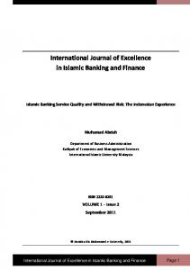 International Journal of Excellence in Islamic Banking and Finance