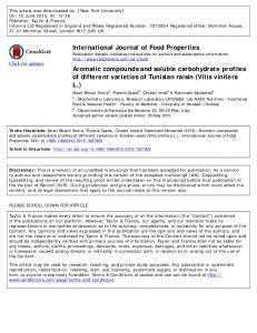 International Journal of Food Properties Aromatic ...