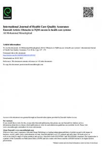 International Journal of Health Care Quality Assurance