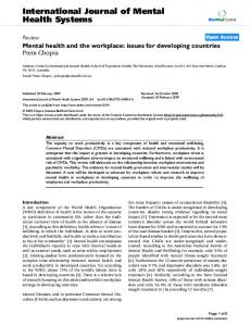 International Journal of Mental Health Systems - BioMedSearch
