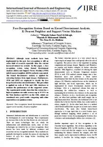 International Journal of Research and Engineering Face Recognition