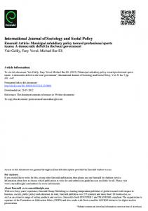 International Journal of Sociology and Social Policy