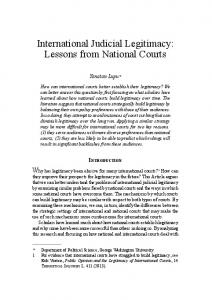 International Judicial Legitimacy: Lessons from National Courts