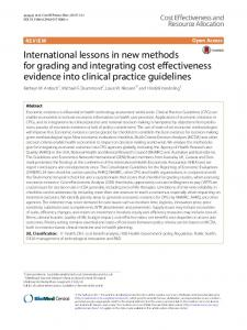 International lessons in new methods for grading and integrating cost ...