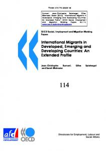 International Migrants in Developed, Emerging and ... - OECD.org