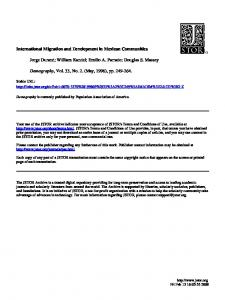 International Migration and Development in Mexican Communities ...