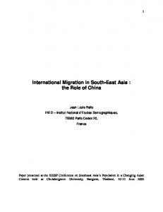International Migration in South-East Asia: the Role of China