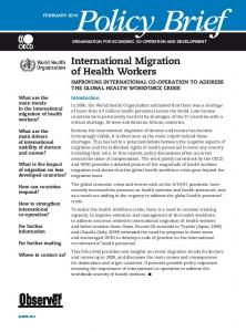 International Migration of Health Workers