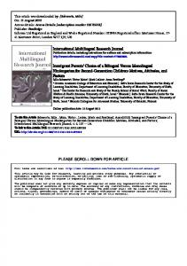 International Multilingual Research Journal Immigrant ...
