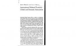 International Political Economy: Global and Domestic Interactions
