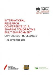 international research conference 2017: shaping