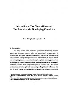 International Tax Competition and Tax Incentives in ... - IssueLab