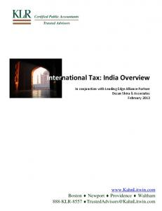 International Tax: India Overview